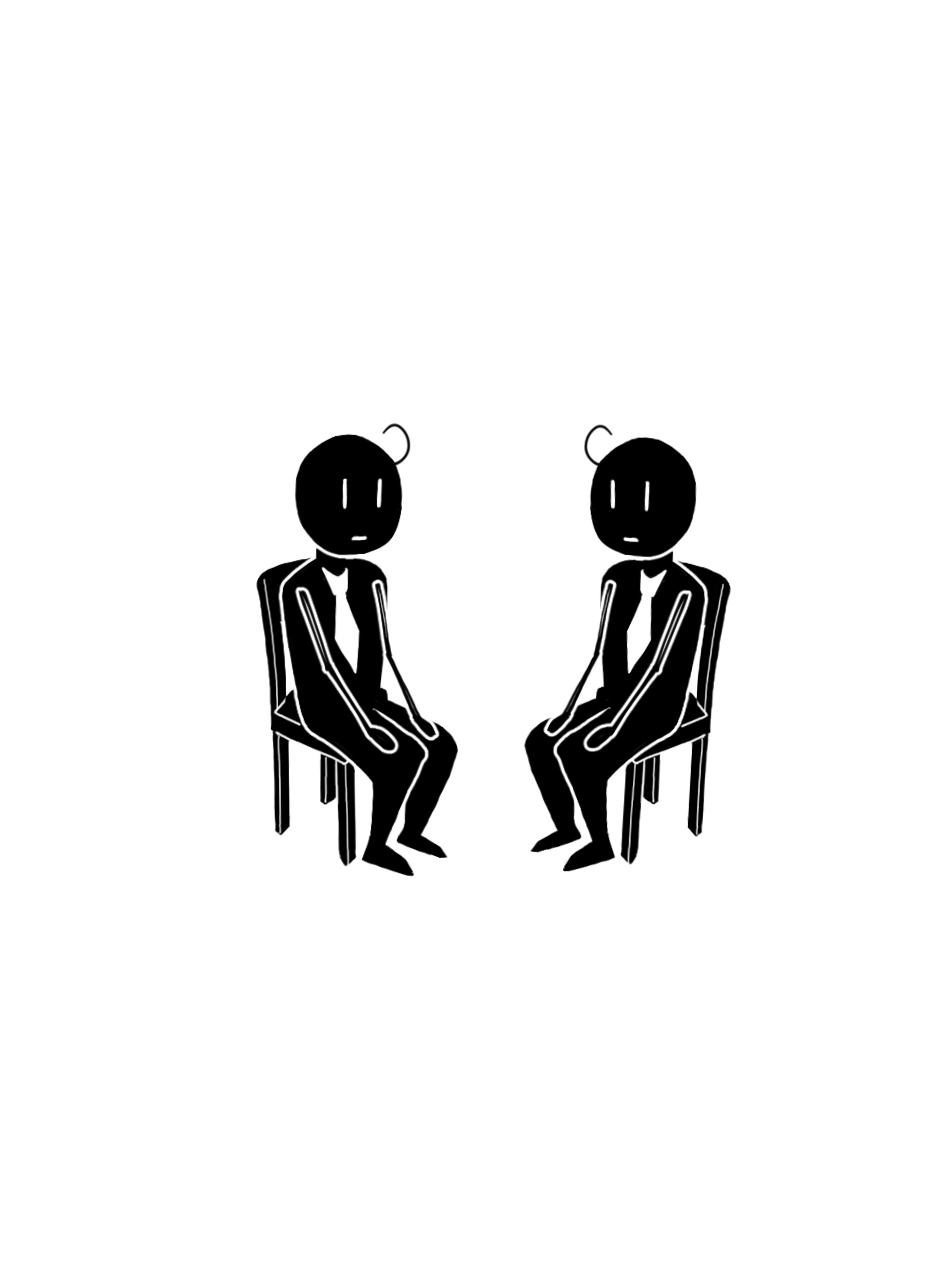 イスに座る男の人のイラスト / Illustration of a man sitting on a chair.