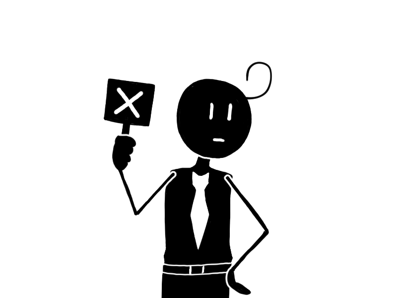 『NO(ノー)』や『不正解』のサインのバツを掲げる男性のフリーイラスト素材です。/ It is an free image of a man holding the sigh 『✕』for 『NO』or『Incorrect』.