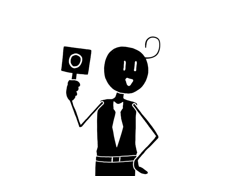 """『YES(イエス)』や『正解』のサインの丸を掲げる男性のフリーイラスト素材です。/ It is an free image of a man holding a circle with a sign of """"YES"""" or """"correct answer""""."""
